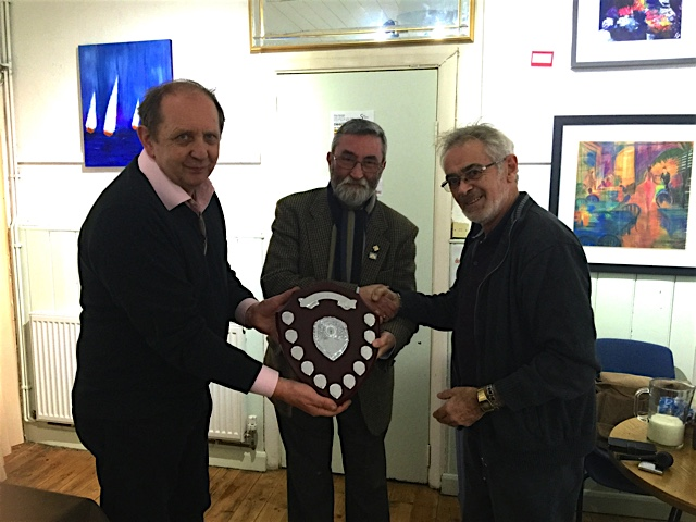 Steve Hersey outright winner of the competition receiving the Northern Briars Inter Club Challenge Shield from the founders of the competition Ian Walker (Northern Briars and Bob Gregory (Samuel Gawith).